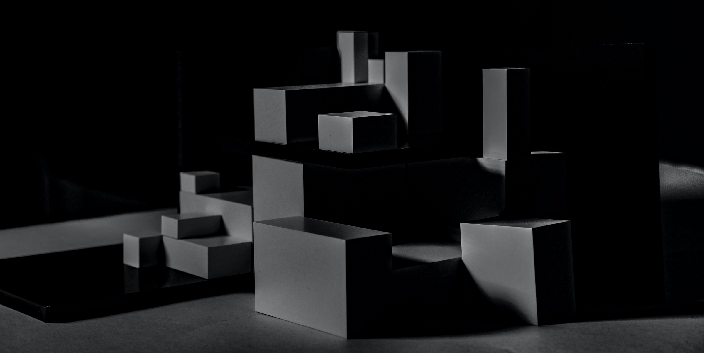 Abstract image of black boxes