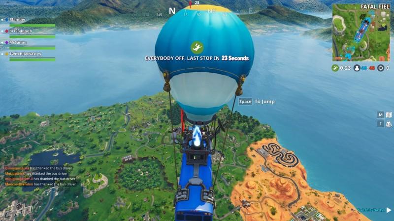 Fortnite Battle Bus flying over the map