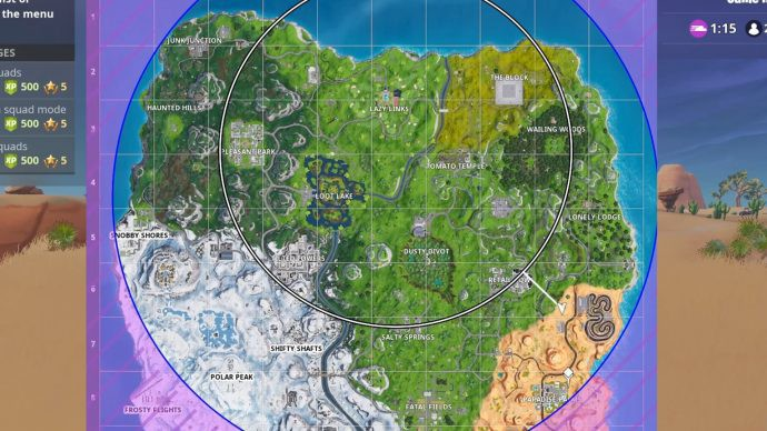 Image of Fortnite map with Storm circle