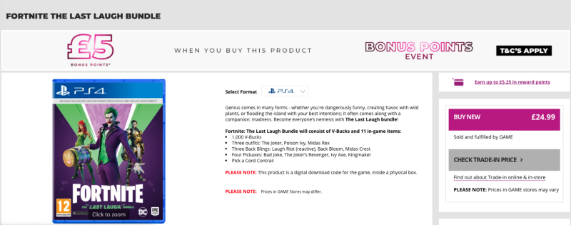 Image of Fortnite boxed product on game.co.uk